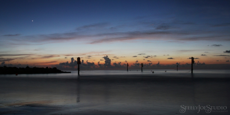 A long exposure from the southern end of Clearwater Beach looking west shows Venus rising over the last bits of a beautiful sunset.